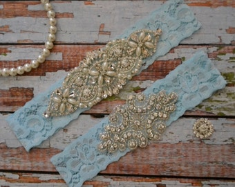 Rhinestone Wedding Garter, Blue Lace Bridal Garter Set, Something Blue Bridal Garter Belt, Vintage Style Wedding Garter Set, B14
