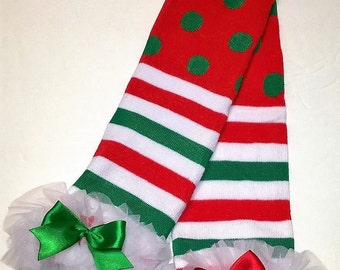 Christmas Leg Warmers, Red and Green Stripes and Dots - Now 25% off!