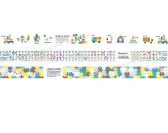 3 rolls - mt kids Japanese Washi Tape Set - 15mm x 7m each - Building Blocks String Art Jigsaw Puzzle
