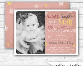 Twinkle Twinkle Little Star Birthday Invitation, Pink and Gold Birthday, First Birthday, Photo, Blush and Gold, Printable or Printed