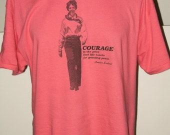 SALE Vintage Amelia Earhart T Shirt Hot Pink Ladies Large (42-44) 1937 Commemorative Flight, 1897 Birth ~ Hanes Beefy T Never Worn