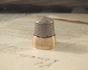 Vintage / Antique Thimble / Stamped Sterling Silver and Gold / England / Anchor Hallmark