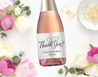 Mini Thank You Champagne Label Favors