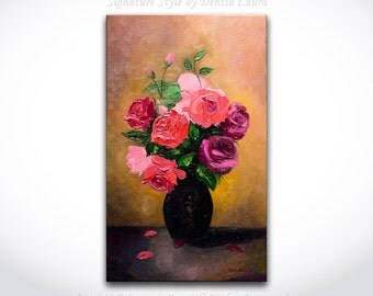Vase of Roses - ORIGINAL Modern Red Rose Oil Painting Contemporary Bouquet Impasto Thick Texture Art by Denisa Laura Ready to Hang 12x20