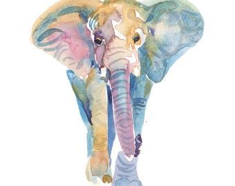Elephant, Painting, Watercolor, Watercolor Elephant ,   Watercolor print , Animal Art Print