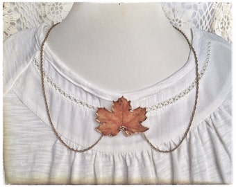 Autumn necklace, maple leaf necklace, autumn leaf brooch necklace, orange leaf necklace, real leaf necklace, Autumn jewellery, shabby chic.