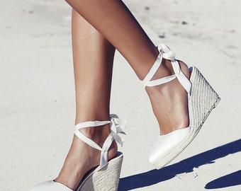 Bridal Espadrille Wedge Ivory And Satin Designer Shoe Wedding Shoes Ribbon