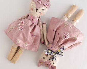 Rag doll, doll handmade, cat doll, nursery decor, nursery art, home decor, heirloom doll, collectible doll, art doll, baby gift, baby shower