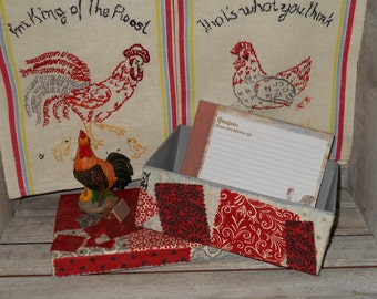 Rooster recipe box and cards