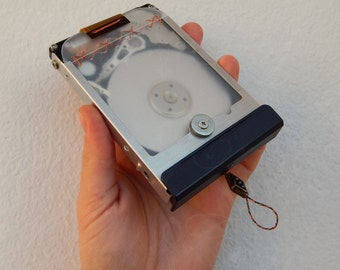 "OOAK Recycled/Upcycled hard disk into a pocket mirror ""JrG15-05"" - Industrial style"