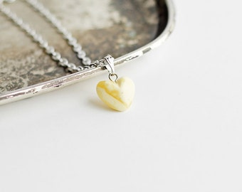 Amber pendant/ Baltic amber pendant/ White amber heart pendant with chain