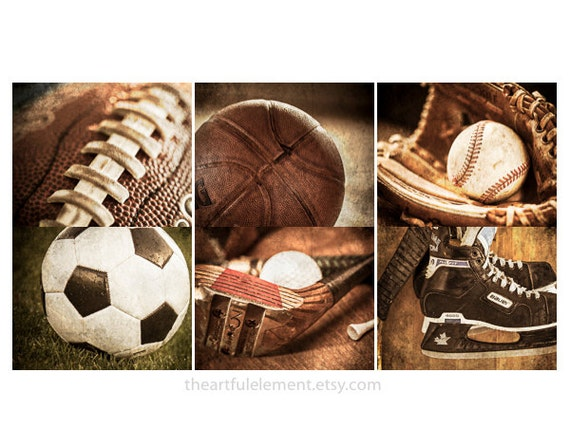 Sports wall art, Boys room decor, Man cave wall art, Vintage sports, Teen sports wall art, Home decor // Set of 6 sports decor prints