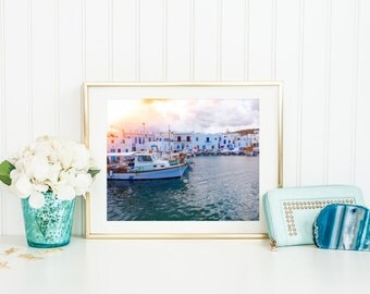 Travel photography, Greece prints, boat wall art, printable home decor, fine art photo, vintage photograph, digital downloads, fishing boat