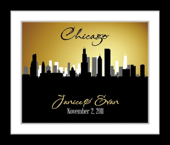 chicago wedding gift, chicago skyline wall art, personalized chicago ...
