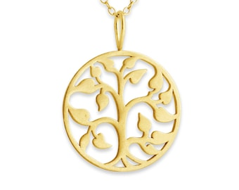 Tree of Life Charm Pendant Necklace #14k Gold Plated over 925 Sterling Silver #Azaggi N0174G