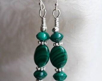 Malachite Earrings, Green Earrings, Gemstone Dangles, Vintage Earrings, Sterling Jewelry, Malachite Jewelry,  Upcycled Jewelry, Earrings