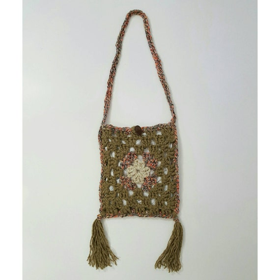 SALE Handmade Granny Square Crochet Boho Fringe Purse - Hippie Bohemian Ecofriendly Bag - Light Brown Tan Festival Crossbody Hand Made Tote
