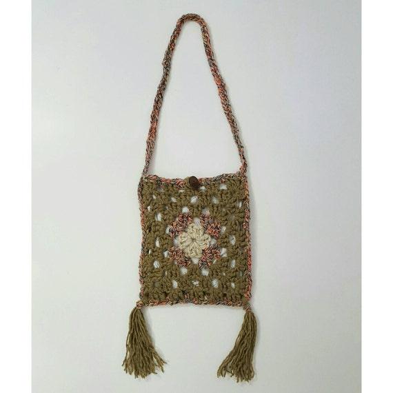 SALE Handmade Granny Square Crochet Boho Fringe Purse - Hippie Bohemian Ecofriendly Bag - Light Brown Tan Festival Crossbody Hand Made Tote