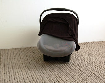 BLACK || Car Seat Canopy - Stretchy Car Seat Cover - Infant Baby Carrier Cover - Carseat Cover