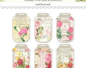 Floral mason jar tags / printable vintage French ATC tags / shabby chic digital collage sheet / mason jar labels, food labels, canning label