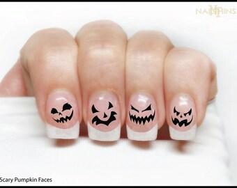 Pumpkin Nail Decal Halloween Nails Jack O Lantern NAILTHINS