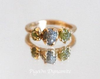 Raw Diamond Engagement Ring 14k Gold size 5-Raw Diamond Ring-Rough Diamond Ring-Natural Diamond Ring-Anniversary Ring-Gold Diamond Ring