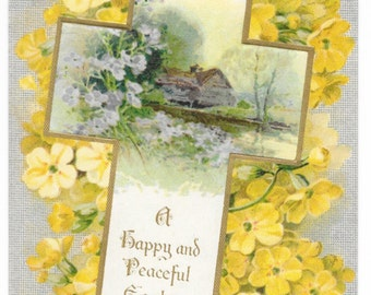 Yellow Floral Cross Easter Postcard, c. 1910
