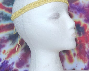 Yellow Boho Crochet Headband Hippie Headband Boho Hair Accessory Festival Headband