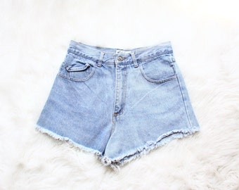 high waisted denim shorts | cut off jeans | fringe | 90s minimalist ( large, 30 waist )