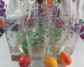 SALE Libbey Glass Midcentury Tumblers White and Gold Flowing Leaf Design Water Glasses Set of Eight