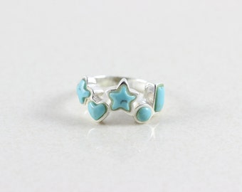 Sterling Silver Turquoise Band Ring Size 8