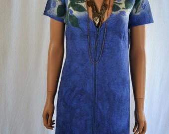 Eco fashion tunica  Nuno felted   light mint from natural silk and woolNuno felt dress  - Mini wool dress - Boho Pixie dress -