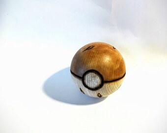 Grass Type Wood-Burned Pokeball (solid hardwood) for the Pokemon fan