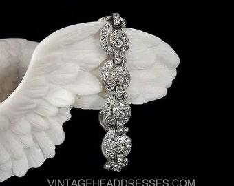 Authentic 1920's Paste Bracelet, Art Deco Bracelet, Vintage Pave Diamante Bracelet, Rhinestone Bracelet, Wedding, Bridal, Diamante, Circles