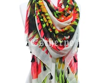 Neon Wings Scarf, So Soft Lightweight Spring Summer Scarf Women's Fashion Accessories Beach Wrap Mother's Day Easter Gift For Girlfriends