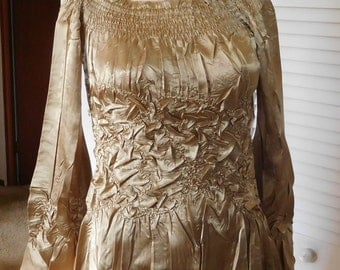 Gold Crinkle Blouse Puff Long Sleeve Bell Size Medium Elastic Smocking Off The Shoulder Boho Cowgirl Glam Bohemian Clothes Disco Days SALE