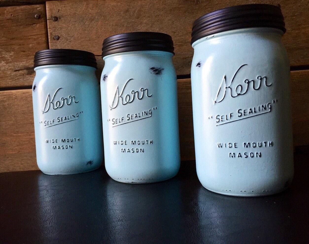 Blue kitchen canister set painted mason jar vintage kerr or for Blue kitchen set