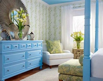CUSTOM PAINTED Vintage French Provincial Bedroom Set, Shabby Chic Cottage