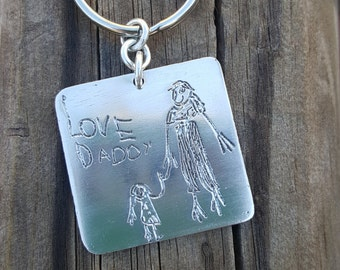 Christmas Gift Childs Artwork Keychain, Personalized Gift with Your Child's Artwork, Sterling Silver Keychain, Keyring, Gift Idea