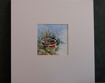 """Original Watercolor Painting - """"Ocho Rios Rust Pans"""" - Matted and Ready to Frame - Camille Collins Painting"""