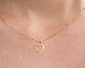 Dainty circle necklace, Solid gold circle necklace, Circle necklace,  K14 Gold necklace , Open circle necklace, Open circle charm