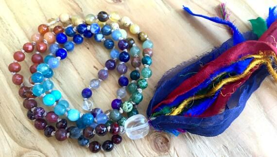 7 Chakra Necklace - Chakra Mala Beads - Chakra Mala Necklace - 108 Mala Beads, Healing Crystal Jewelry - Yoga Gift - Yoga Jewelry