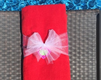 Red Personalized Monogrammed Velour Cotton Beach Towels, Pool Towels and Bath Towels