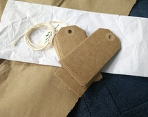 20 Craft Paper Tags + String | Brown paper hang tags, kraft tags for packaging, gift labels, price tags or party favors + choice of string.