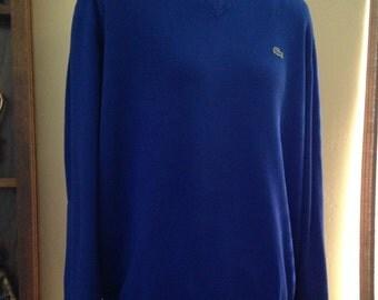 Nice LACOSTE Cotton V-Neck Royal Blue Sweater