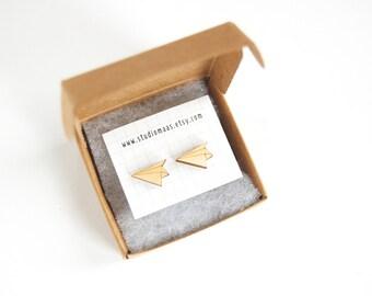 Paper plane ear studs, airplane earrings, origami jewelry, lasercut jewellery, wooden earrings, plane post earrings, minimalistic earrings