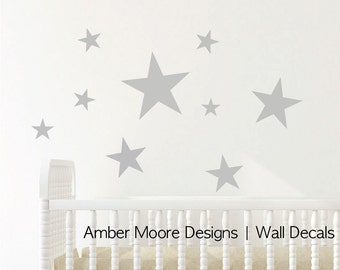 Large Stars Wall Decal Set - Vinyl Wall Stickers Decals - Art Pattern Decals - Large Wall Stars - Vinyl Wall Decals