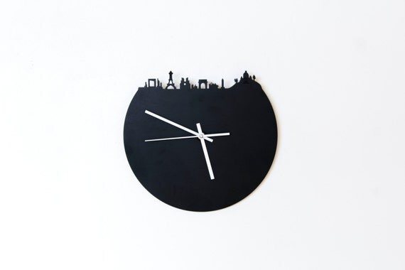 Horloge ardoise panorama de paris skyline bois contreplaqu - Decoupe bois paris ...