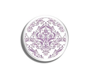 Purple and White Medallion Damask Birch Wood Drawer Pull Knob - Victorian, Violet, Country French, Vintage Decor, Cabinet, Dresser 1214ZENB