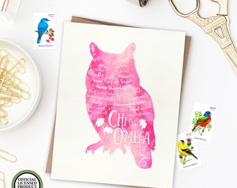 Chi Omega Owl | Single Folded Note | Sorority Big Little Reveal Gift | Officially Licensed | XO-SFN